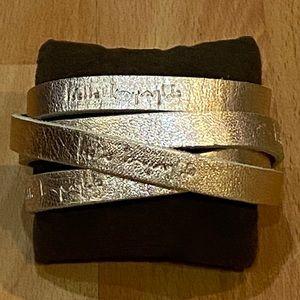 NWOT Gold Leather Wrap Around Bracelet Adjustable